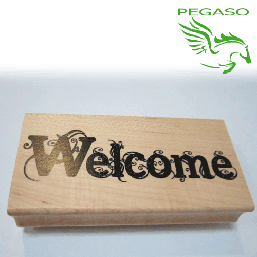 Timbro in legno - Welcome